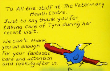 To all the staff at the Veterinary Health Centre. Just to say thank you for taking care...
